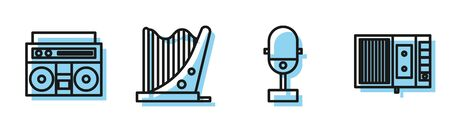 Set line Microphone, Home stereo with two speakers, Harp and Music tape player icon. Vector Ilustracja