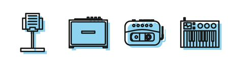 Set line Music tape player, Music stand, Guitar amplifier and Music synthesizer icon. Vector