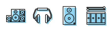 Set line Stereo speaker, Stereo speaker, Headphones and Drum with drum sticks icon. Vector