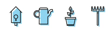 Set line Plant in pot, Retro wall watch, Watering can and Garden rake icon. Vector Illustration