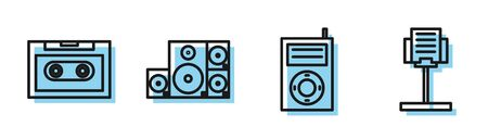 Set line Music MP3 player, Retro audio cassette tape, Stereo speaker and Music stand icon. Vector