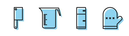 Set line Refrigerator, Meat chopper, Measuring cup and Oven glove icon. Vector Illustration