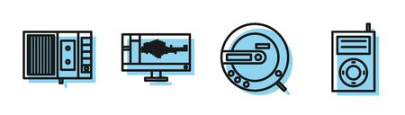 Set line Music CD player, Music tape player, Sound or audio recorder on monitor and Music MP3 player icon. Vector Ilustracja