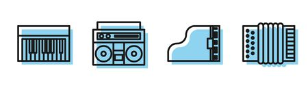 Set line Grand piano, Music synthesizer, Home stereo with two speakers and Musical instrument accordion icon. Vector