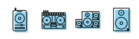 Set line Stereo speaker, Music player, DJ remote for playing and mixing music and Stereo speaker icon. Vector