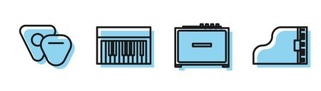Set line Guitar amplifier, Guitar pick, Music synthesizer and Grand piano icon. Vector Ilustracja