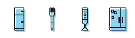 Set line Blender, Refrigerator, Fork and Refrigerator icon. Vector