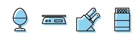 Set line Knife, Chicken egg on a stand, Electronic scales and Open matchbox and matches icon. Vector