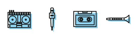 Set line Retro audio cassette tape, DJ remote for playing and mixing music, Microphone and Clarinet icon. Vector