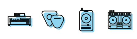 Set line Music player, Music CD player, Guitar pick and DJ remote for playing and mixing music icon. Vector