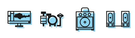 Set line Guitar amplifier, Sound or audio recorder on monitor, Drums and Stereo speaker icon. Vector Ilustracja