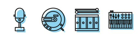 Set line Drum with drum sticks, Microphone, Music CD player and Music synthesizer icon. Vector