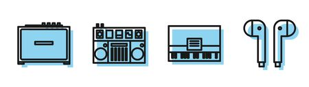 Set line Piano, Guitar amplifier, DJ remote for playing and mixing music and Air headphones icon. Vector