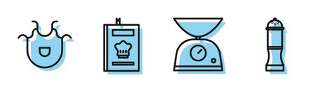 Set line Scales, Kitchen apron, Cookbook and Pepper icon. Vector