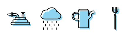 Set line Watering can, Garden hose or fire hose, Cloud with rain and Garden pitchfork icon. Vector Illustration