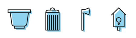 Set line Wooden axe, Flower pot, Trash can and Retro wall watch icon. Vector