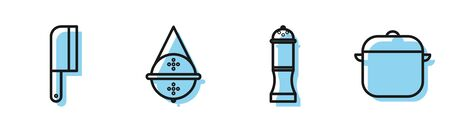 Set line Pepper, Meat chopper, Ball tea strainer and Cooking pot icon. Vector