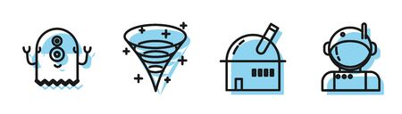 Set line Astronomical observatory, Alien, Black hole and Astronaut icon. Vector