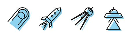 Set line Satellite, Satellite, Rocket ship with fire and UFO flying spaceship icon. Vector
