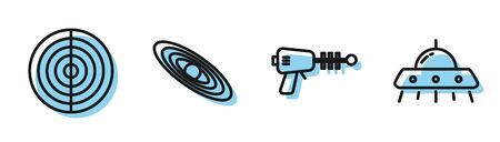 Set line Ray gun, Earth structure, Planet and UFO flying spaceship icon. Vector