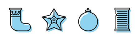 Set line Christmas ball, Christmas stocking, Christmas star and Christmas wish list template icon. Vector 일러스트