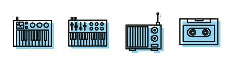 Set line Radio with antenna, Music synthesizer, Music synthesizer and Retro audio cassette tape icon. Vector