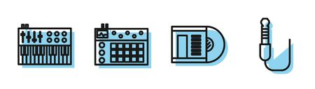 Set line Vinyl disk, Music synthesizer, Drum machine and Audio jack icon. Vector