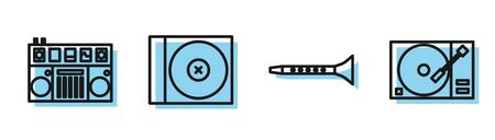Set line Clarinet, DJ remote for playing and mixing music, CD or DVD disk and Vinyl player with a vinyl disk icon. Vector Ilustracja