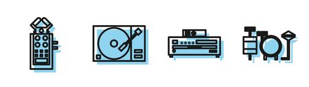 Set line Music CD player, Microphone, Vinyl player with a vinyl disk and Drums icon. Vector