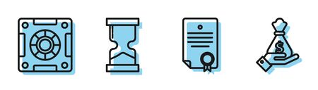 Set line Certificate template, Safe, Old hourglass and Hand holding money bag icon. Vector Stock Illustratie