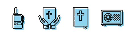 Set line Holy bible book, Walkie talkie, Oath on the Holy Bible and Safe icon. Vector Stock Illustratie