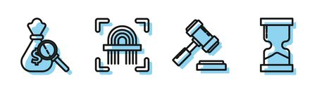 Set line Judge gavel, Money bag and magnifying glass, Fingerprint and Old hourglass icon. Vector