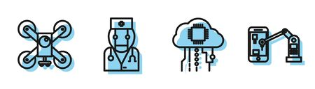 Set line Internet of things, Drone flying with action camera, Robot doctor and Industrial machine robotic robot arm hand icon. Vector