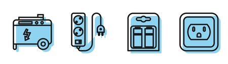 Set line Battery in pack, Portable power electric generator, Electric extension cord and Electrical outlet in the USA icon. Vector Stock Illustratie