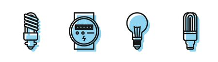 Set line Light bulb with concept of idea, LED light bulb, Electric meter and LED light bulb icon. Vector Illusztráció