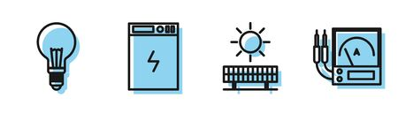 Set line Solar energy panel and sun, Light bulb with concept of idea, Power bank and Ampere meter, multimeter, voltmeter icon. Vector