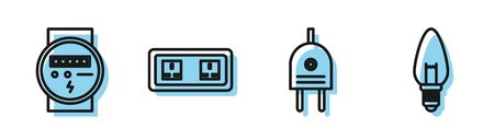 Set line Electric plug, Electric meter, Electrical outlet and Light bulb icon. Vector Stock Illustratie