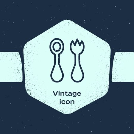Grunge line Baby plastic cutlery with fork and spoon icon isolated on blue background. Cutlery for kid. Childrens dining items. Monochrome vintage drawing. Vector Illustration
