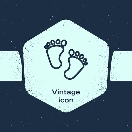 Grunge line Baby footprints icon isolated on blue background. Baby feet sign. Monochrome vintage drawing. Vector Illustration 向量圖像