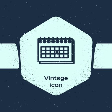 Grunge line Calendar icon isolated on blue background. Due date. Monochrome vintage drawing. Vector Illustration