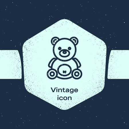 Grunge line Teddy bear plush toy icon isolated on blue background. Monochrome vintage drawing. Vector Illustration