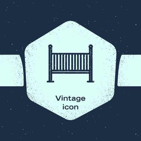 Grunge line Baby crib cradle bed icon isolated on blue background. Monochrome vintage drawing. Vector Illustration