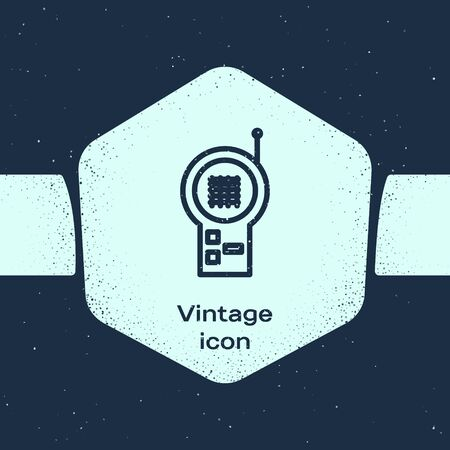 Grunge line Baby Monitor Walkie Talkie icon isolated on blue background. Monochrome vintage drawing. Vector Illustration Illustration