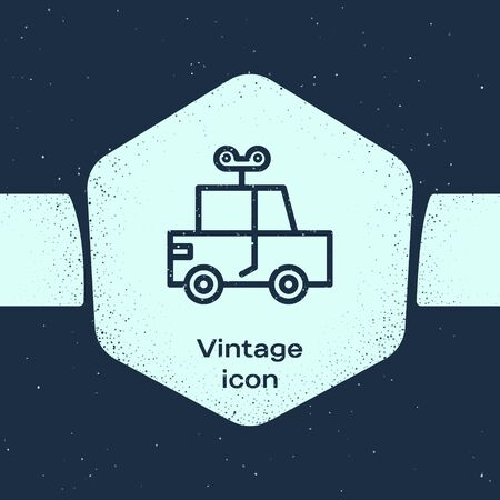 Grunge line Toy car icon isolated on blue background. Monochrome vintage drawing. Vector Illustration Vectores