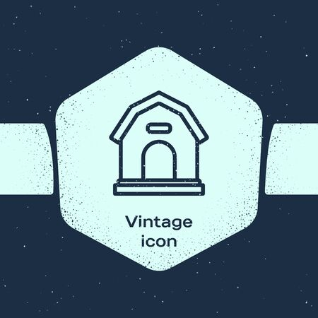 Grunge line Dog house icon isolated on blue background. Dog kennel. Monochrome vintage drawing. Vector Illustration