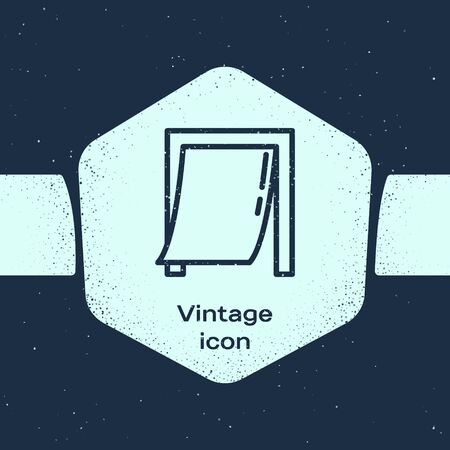 Grunge line Door for pet icon isolated on blue background. Monochrome vintage drawing. Vector Illustration