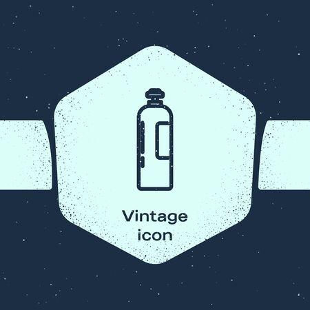 Grunge line Industrial gas cylinder tank for all inert and mixed inert gases icon isolated on blue background. Monochrome vintage drawing. Vector Illustration