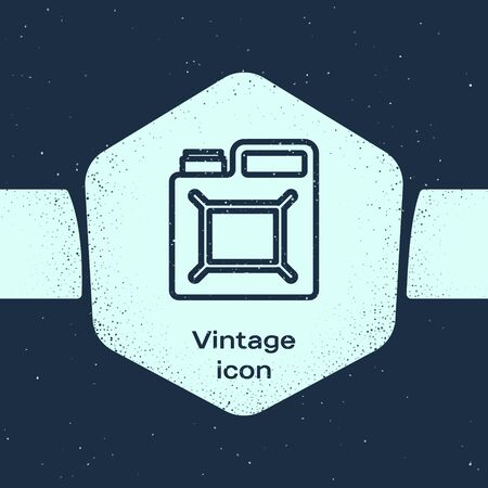 Grunge line Canister for gasoline icon isolated on blue background. Diesel gas icon. Monochrome vintage drawing. Vector Illustration