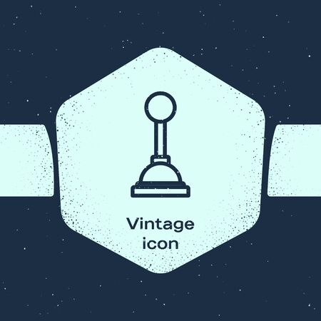 Grunge line Gear shifter icon isolated on blue background. Manual transmission icon. Monochrome vintage drawing. Vector Illustration