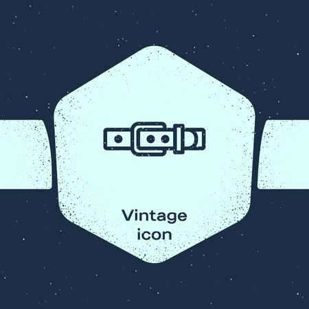 Grunge line Leather belt with buttoned steel buckle icon isolated on blue background. Monochrome vintage drawing. Vector Illustration Ilustracje wektorowe